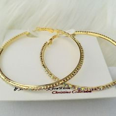 "Rhinestone Hoop Earrings. Price firm. Large dazzling rhinestone hoop earrings. Color-gold. Size approx 3"" W, 2mm. (5 sets available) Farah Jewelry Jewelry Earrings"