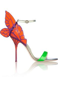 Sophia Webster Chiara neon and iridescent leather sandals | NET-A-PORTER