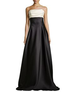 Strapless Colorblock Charmeuse Ball Gown by Carmen Marc Valvo. Perfect with some white diamonds and a high top bun.