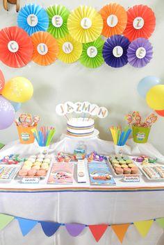 Carolina A's Birthday / Rainbow - Jazmin´s birthday at Catch My Party Birthday Candy, Rainbow Birthday Party, Rainbow Theme, Bday Girl, 1st Boy Birthday, 1st Birthday Parties, Candy Bar Party, Rainbow Parties, Minion Party