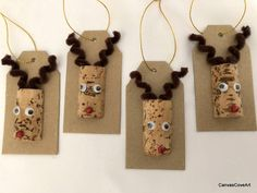 Wine Cork Reindeer Gift Tags set of 4 holiday Christmas Decor Wrapping Rudolph red Glitter nose Gold ribbon Squiggly Eyes Chipboard tags
