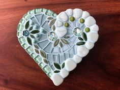 Mint green glass mosaic heart shaped box   Etsy Keep Jewelry, Ceramic Flowers, Covered Boxes, Mosaic Glass, Flower Vases, Wooden Boxes, Mosaics, Special Gifts, Mint Green