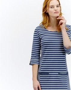 Joules Womens Casual Jersey Dress, Blue Stripe.                     We've updated this seasonal favourite to make it even more desirable. We think you'll like the structural illusion paneling - that's designed to flatter, square neck, deep pockets and chambray trims.  Cut from the best quality cotton it's perfect for wearing on its own or for layering up.