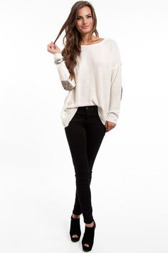 Sequin elbow patch sweater