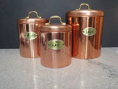 Vintage Ransburg Set of 3 Copper Canisters by TreasureTheMemories