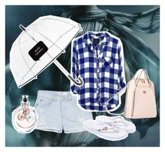 """Monsoon flannel: blue and white"" by fun-time ❤ liked on Polyvore featuring MANGO, Rails, M.R., Kate Spade, Accessorize, Valentino, polyvoreeditorial and checkshirt"