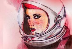 Astronaut Girls by Peony Yip, via Behance