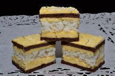 prajitura cu foi si blat de cocos, prajitura Ana, prajitura cu cocos Romanian Desserts, Cake Cookies, Cupcakes, Cheesecakes, Biscuits, Sweet Treats, Appetizers, Coconut, Cooking Recipes