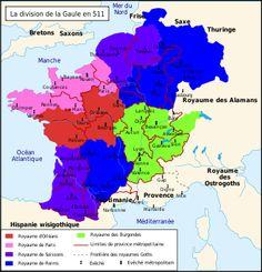 La Gaule en 511: partage du royaume des Francs entre les fils de Clovis.  Thierry, Clodomir, Childebert et Clotaire se partagent, conformément à la tradition franque, le royaume qu'il avait mis une vie à réunir.  La Gaule ayant été soumise sauf la Provence, la Septimanie et le royaume des Burgondes, son royaume peut donc être découpé en 4 parts, dont 3 à peu près équivalentes. La 4°, entre Rhin et Loire, est attribuée à Thierry, l'aîné, qui avait été compagnon des combats de son père.