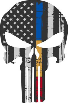 Punisher Skull American Flag Police Dispatch Fire Sticker Graphic - Many Sizes
