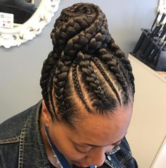 70 Best Black Braided Hairstyles That Turn Heads Cornrows with High Twisted Bun - New Site Black Braided Updo, Braided Hairstyles For Black Women Cornrows, Cool Braid Hairstyles, African Braids Hairstyles, My Hairstyle, Hairstyles Pictures, Party Hairstyles, Hairstyles Haircuts, Natural Hairstyles