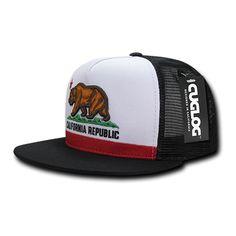 California Republic Five Panel Trucker Hat in Black
