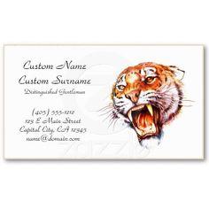 Cool cartoon tattoo symbol roaring tiger head business card $22.75