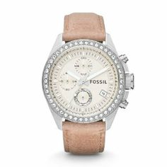 Fossil CH2854 Leather Band Shampaigne Dial Womens Watch. Cool mix of silver and leather