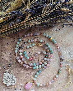 Necklace amazonite agate morganite amethyst solar stone