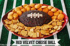 Football red velvet cream cheese ball