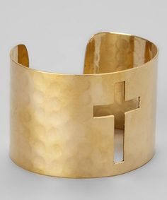Take a look at this Gold Cutout Cross Cuff by ZAD on #zulily today! $9 !!
