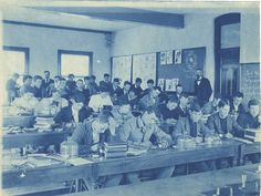 Students sit for Professor Wheeler's botany class, ca. 1900, Michigan State University