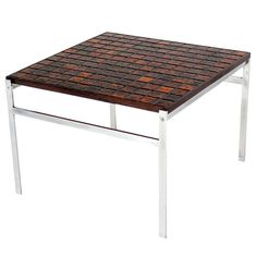 Mid Century Danish Modern Chrome Base Tile and Rosewood Top Square Coffee Table | From a unique collection of antique and modern coffee and cocktail tables at https://www.1stdibs.com/furniture/tables/coffee-tables-cocktail-tables/