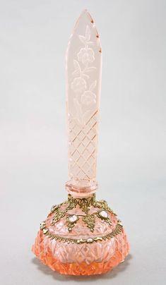 Czech Art Deco Jeweled Intaglio Cut Perfume Bottle. #antique #vintage #scent