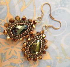 Beadwork Earrings EMERALD GODDESS Seed Bead Dangle by WorkofHeart, $36.00