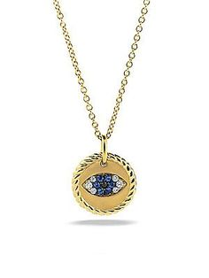 Judith ripka 18k gold evil eye pendant necklace with white blue david yurman cable collectibles evil eye charm necklace with blue sapphire black diamonds and diamonds in gold aloadofball Choice Image