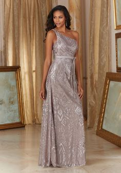 Patterned Sequins on Mesh Bridesmaid Dress Designed by Madeline Gardner. Matching tie sash included.