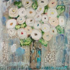 """White Roses in Blue"" 24x24 mixed media Anne Irwin Fine Art 404-467-1200"