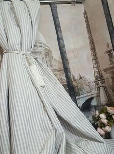 "Susie Watson Inspired 80""W 113""D Oatmeal Ivory Stripe 100%Linen Lined Curtains"