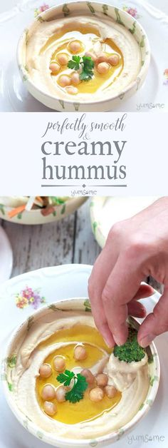 Creamy, smoky and oh so moreish, this perfectly smooth and creamy #hummus is ready in 5 mins, and is fantastic as part of a #meze platter, on #crackers and #toast, in #wraps and #salads, or, if you're like me, from a spoon! And it's #vegan too, of course! | yumsome.com via @yums0me
