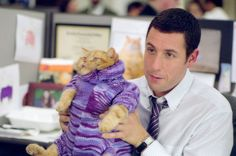 Adam Sandler & a cat...ok that's just too cute. Where is meatball?