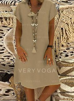 Casual Vacation Knee Length V-Neck Cotton Solid Short Sleeves Solid Shift Dresses, veryvoga