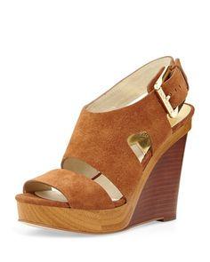 Carla Suede Platform Wedge Sandal, Walnut by MICHAEL Michael Kors at Neiman Marcus.