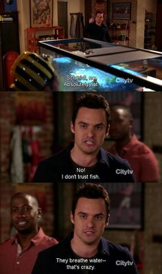 """""""Schmidt, no. I don't trust fish. They breathe water - that's crazy!"""" - Nick Miller (New Girl) Jake Johnson as Nick Miller New Girl Quotes, Tv Quotes, Movie Quotes, New Girl Memes, Girl Humor, I Love To Laugh, Make Me Smile, Thats 70 Show, Nick Miller"""