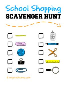 A Back to School Shopping Scavenger Hunt  Printable at B-InspiredMama.com #kids #backtoschool #printable