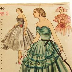 Vintage 1950s Gown Pattern Simplicity 8446 Size 12 Bust by Revvie1, $68.00
