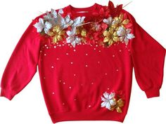 diy ugly sweater I don't know if there are going to be ugly sweater parties this year but I shall be prepared! Tacky Christmas Party, Diy Ugly Christmas Sweater, Xmas Sweaters, Diy Christmas, Christmas Jumpers, Xmas Party, Party Fun, Christmas Stuff, Ugly Sweater Day