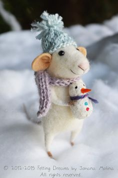 Little Christmas Mouse with snowman- Christmas-Winter Seasonal Ornament- Felting Dreams - READY TO SHIP