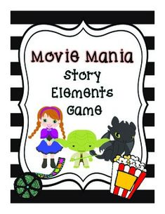 This game helps students learn and practice identifying story elements. Students read parts of a story and use dry erase markers to identify which story element is being described on each card. Students then guess which movie is being described and turn each card to reveal a cute picture of the corresponding movie.