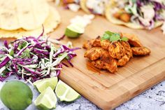 Halibut Tacos with Cilantro Lime Sauce Halibut Recipes, Fish Recipes, Seafood Recipes, Mexican Food Recipes, Ethnic Recipes, Halibut Tacos, Mahi Mahi Fish Tacos, Potluck Recipes, Dinner Recipes