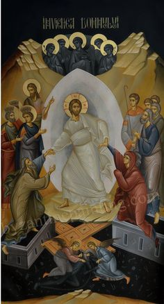 Resurrection of Christ The message of victory over the deathly kingdom of the devil is a divine gift which was generously given to humanity. Life Of Jesus Christ, Christ Is Risen, Religious Icons, Religious Art, Greek Icons, Roman Church, Paint Icon, Christian Images, Russian Icons