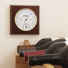 Made of brass, stainless steel, and beechwood, with our Mahogany finish.  Our IWA hygrometer / thermometer will help you and your wine sleep peacefully.