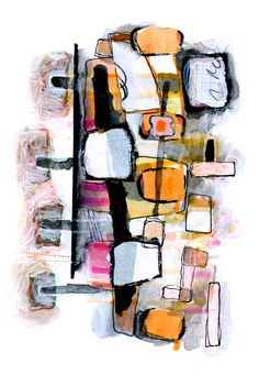 """""""Notices"""", mixed media on paper #abstractart #abstractexpressionism #collage #boqwist #painting #art"""