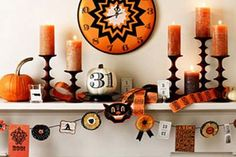 Repisa de la chimenea de Halloween Ideas de decoración