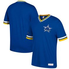 Seattle Mariners Mitchell & Ness Overtime Win Vintage V-Neck T-Shirt - Royal/Gold