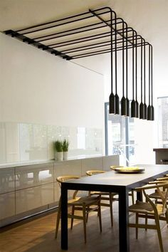 Today we're going to present you an interior design project by Zoe Chan and Merlin Eayrs that features unique contemporary lighting designs. Industrial Lighting, Interior Lighting, Kitchen Lighting, Home Lighting, Lighting Design, Lighting Stores, Modern Lighting, Dining Lighting, Modern Industrial
