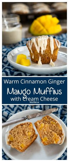 Warm Cinnamon Ginger Mango Muffins with Cream Cheese and a Vanilla Bean Drizzle are quick and easy to make. This soft and tender muffin will quickly become your favorite! Muffin Recipes, Breakfast Recipes, Snacks Recipes, Veggie Recipes, Breakfast Ideas, Vegetarian Recipes, Recipies, Mango Muffins, Cream Cheese Muffins