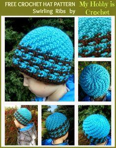 My Hobby Is Crochet: Crochet Hat Swirling Ribs- Free crochet pattern and tutorial