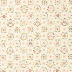Bomuld natur m blomster kakkel mønster