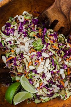 Ginger-Soy Cabbage Quinoa Slaw with Almonds | Naturally Ella